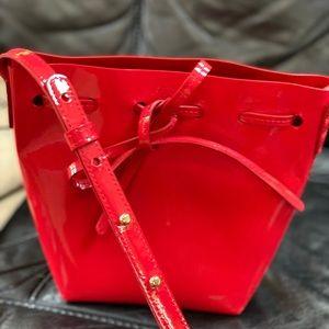 Mansur Gavriel mini flamma patent red bucket bag
